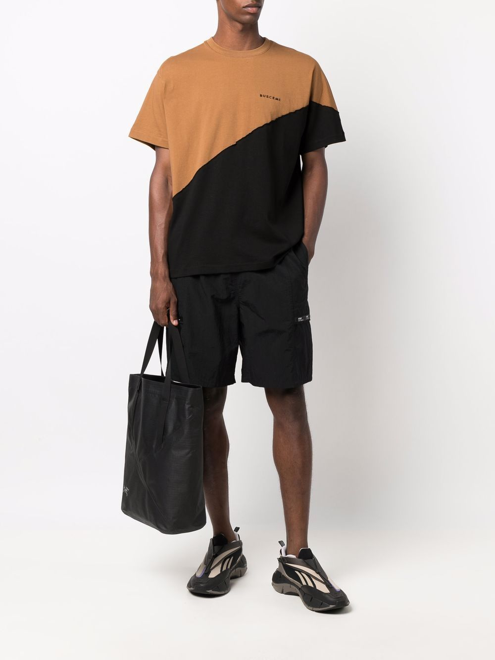 Picture of Buscemi | Colour-Block Cotton T-Shirt