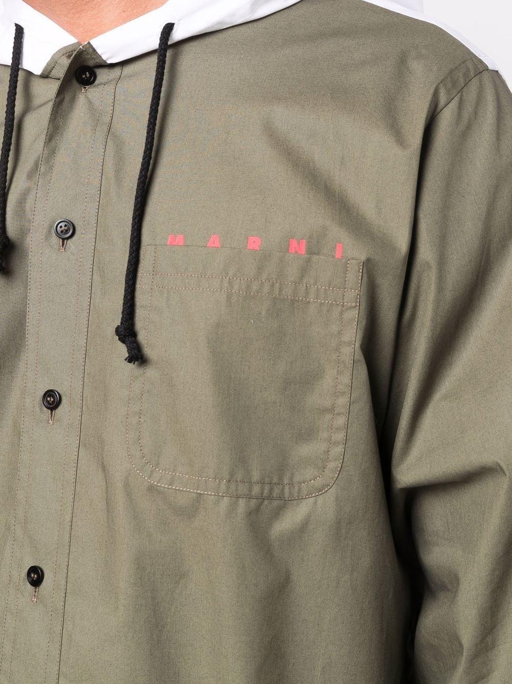 Picture of Marni   Logo-Print Drawstring-Hood Shirt