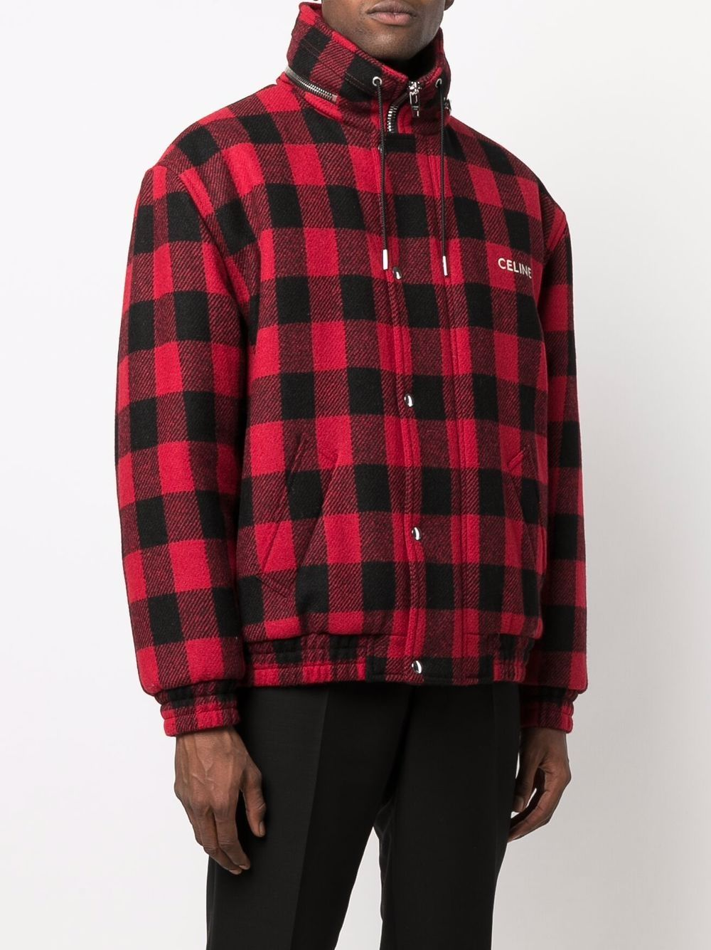 Picture of Celine | Loose Blouson Jacket In Checked Wool