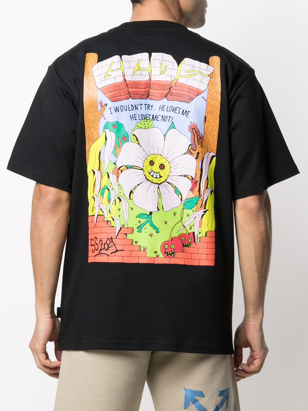 Picture of Gcds   Flower Print Slogan T-Shirt