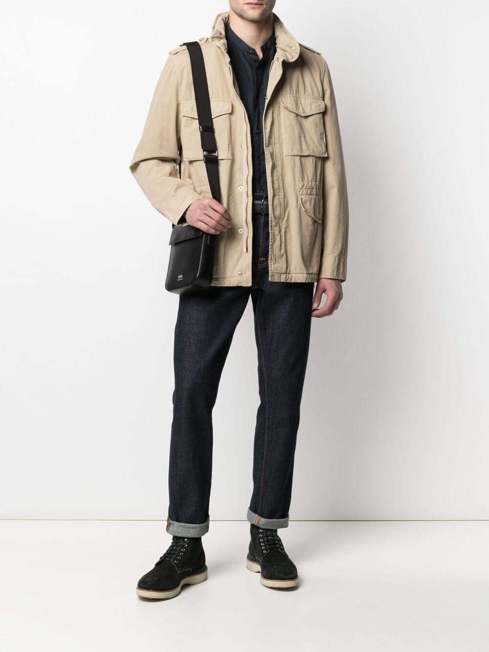 Picture of Aspesi | Concealed Hood Military Jacket