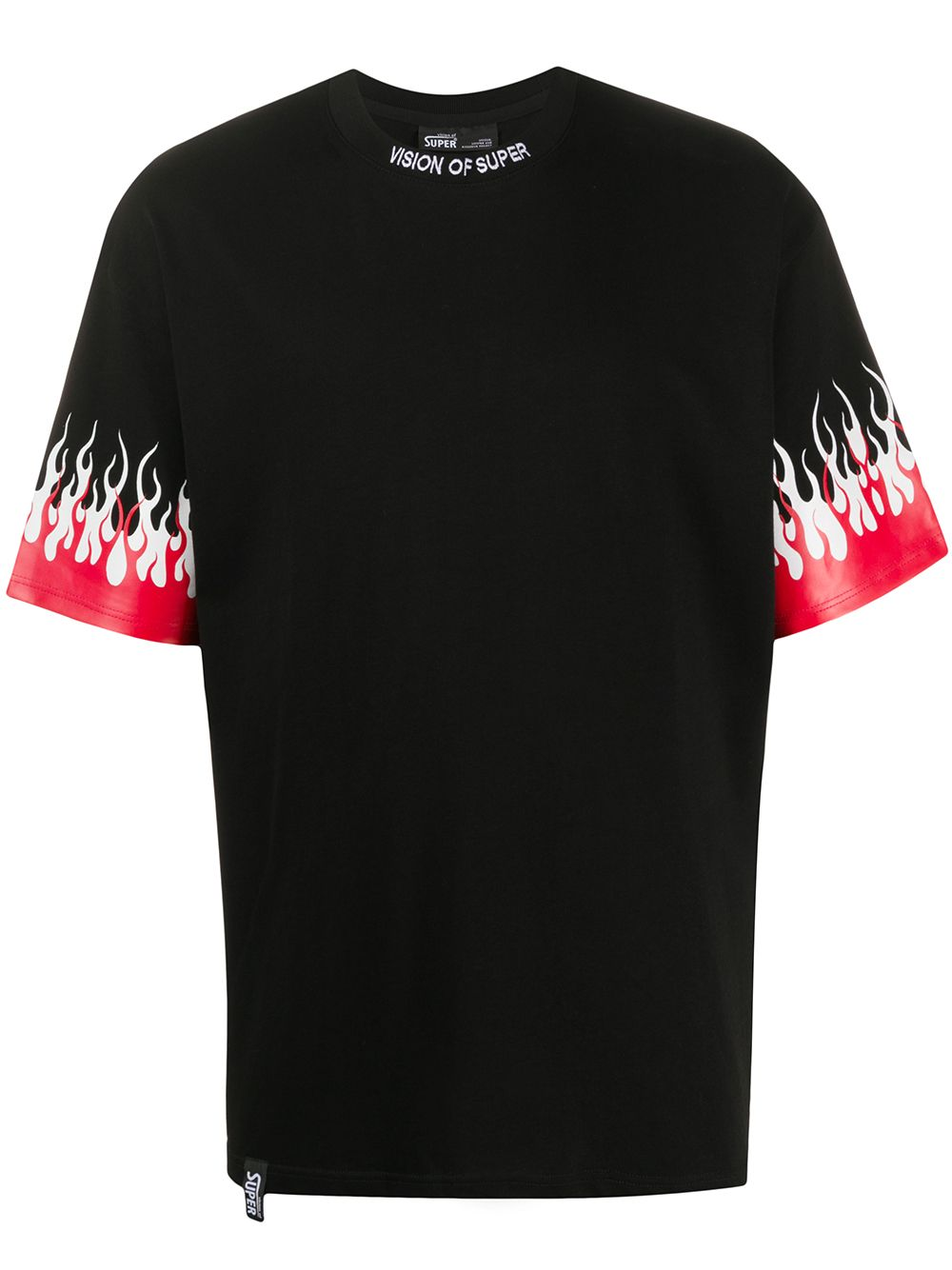 Picture of Vision Of Super   Flame-Print Cotton T-Shirt