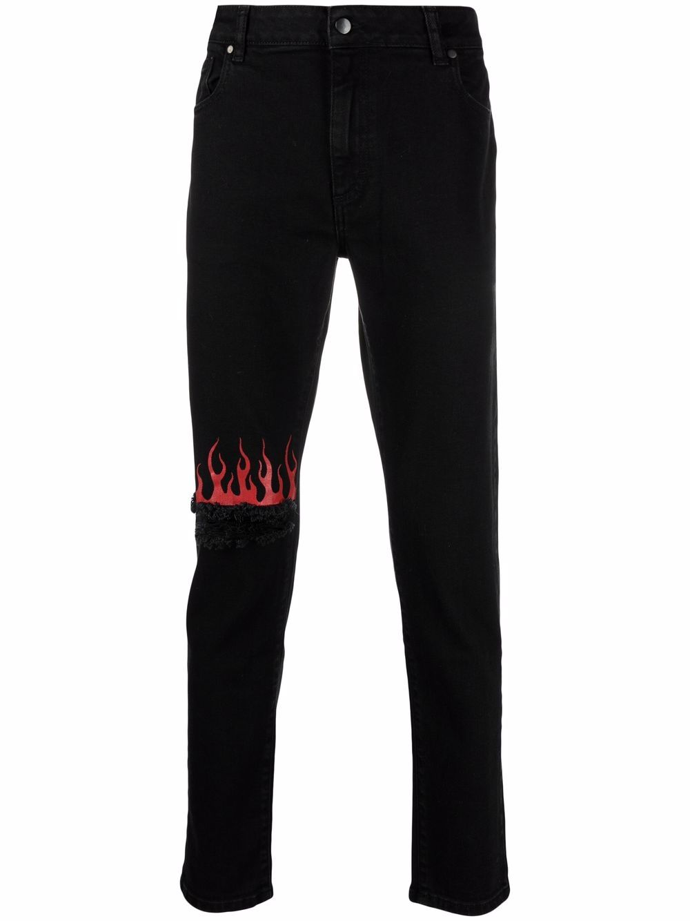 Picture of Vision Of Super | Flame-Print Distressed Jeans
