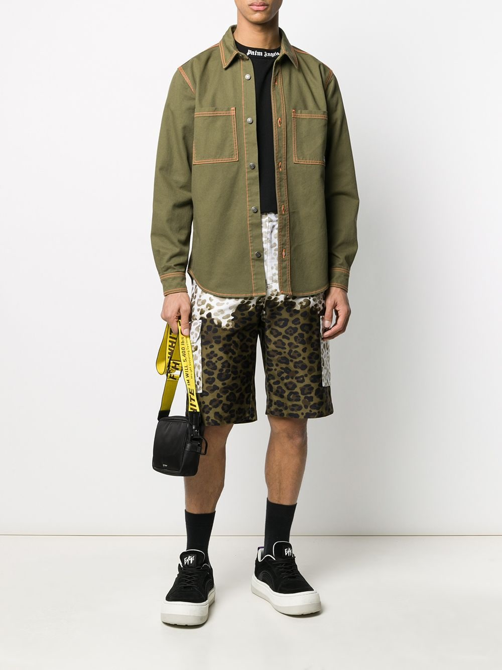 Picture of Msgm | Leopard-Print Cargo Shorts