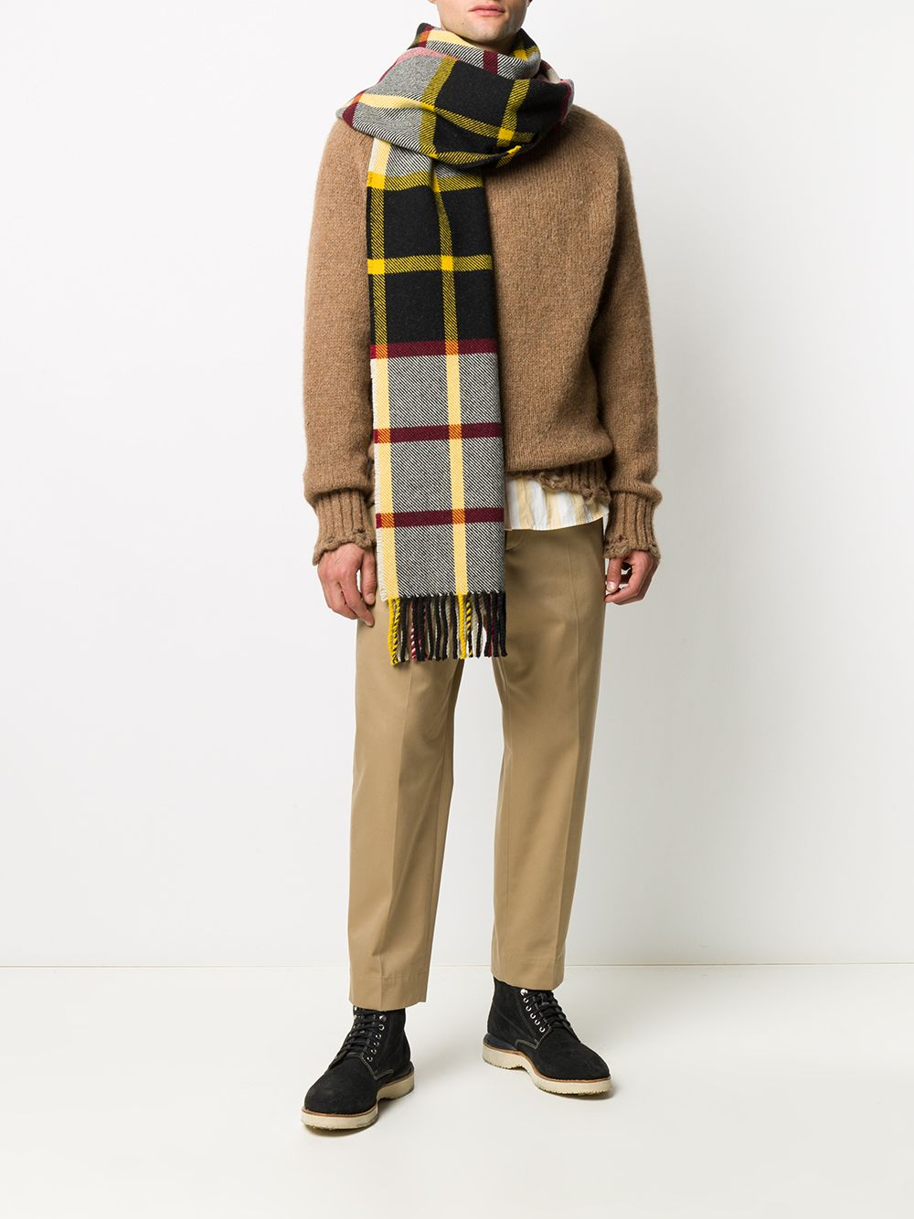 Picture of Jil Sander | Check-Pattern Fringed Scarf