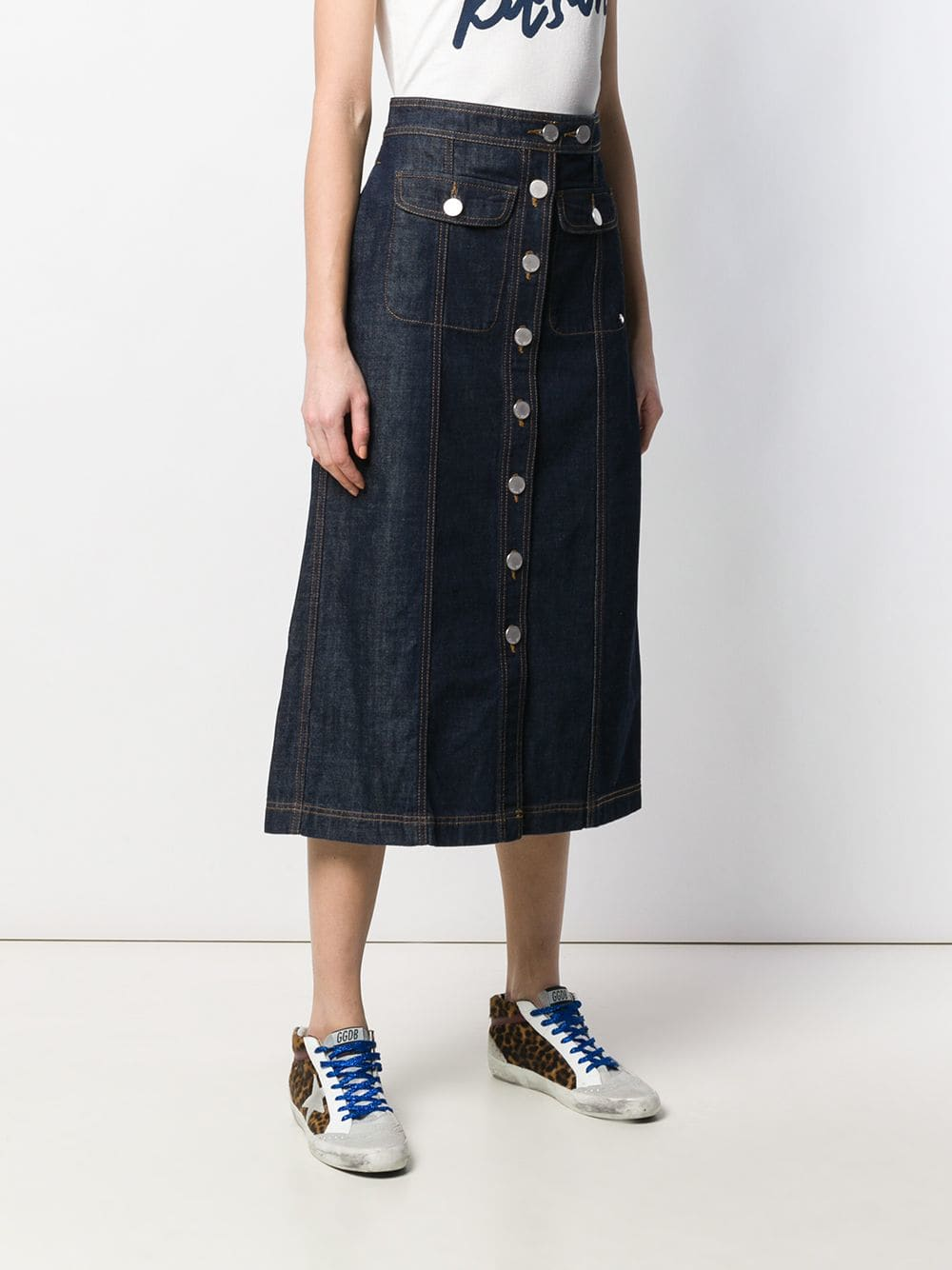 Picture of Maison Kitsune` | Denim Midi Skirt