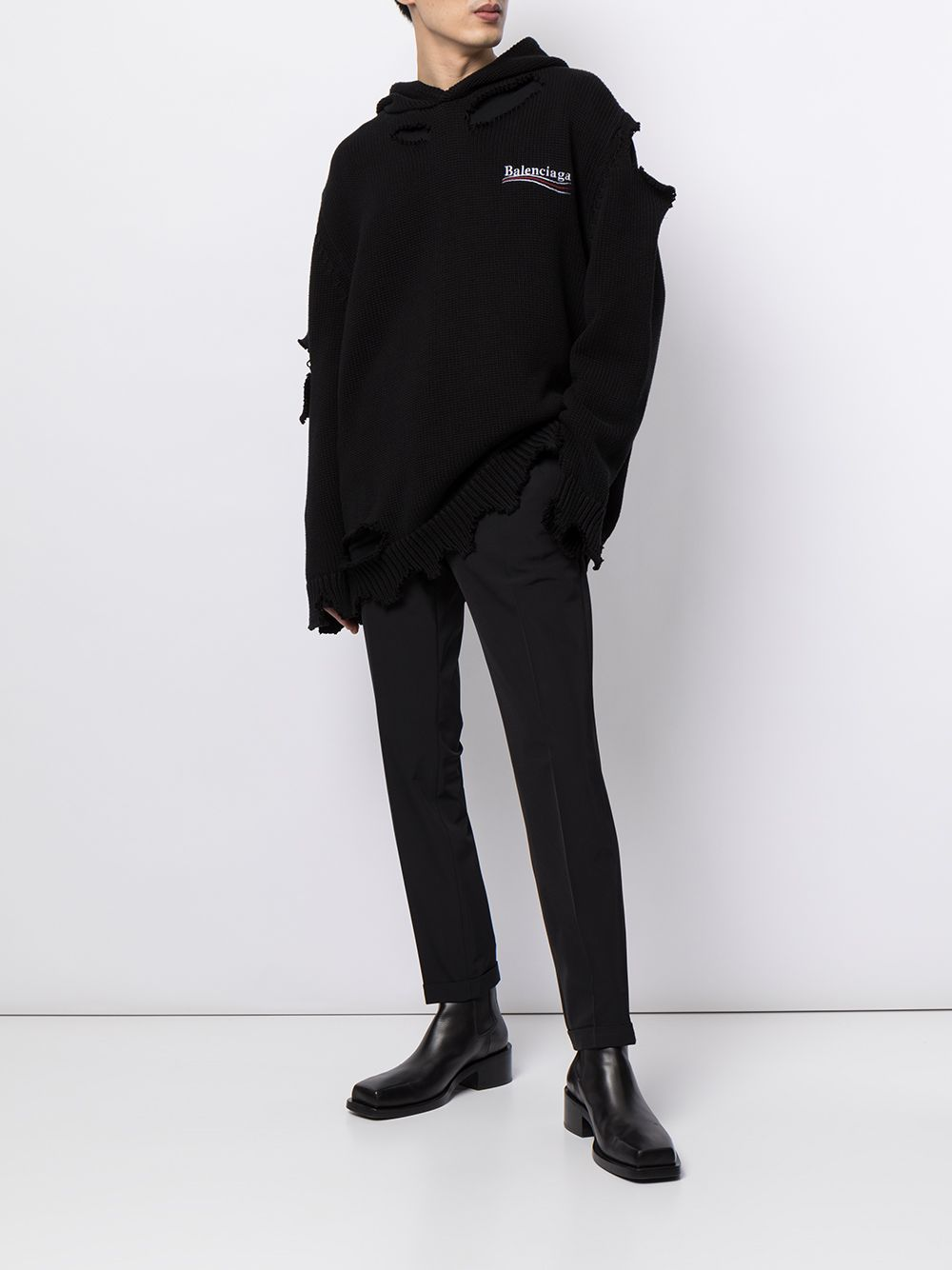 Picture of Balenciaga   Distressed-Effect Embroidered-Logo Hoodie