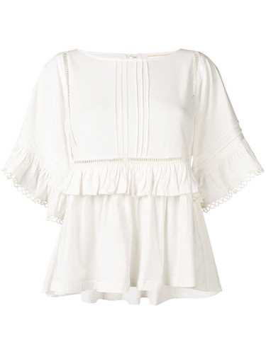 Picture of Semicouture | Frill-Trim Embroidered Top