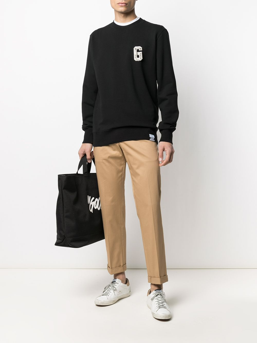 Picture of Golden Goose Deluxe Brand | Embellished Logo-Patch Sweatshirt