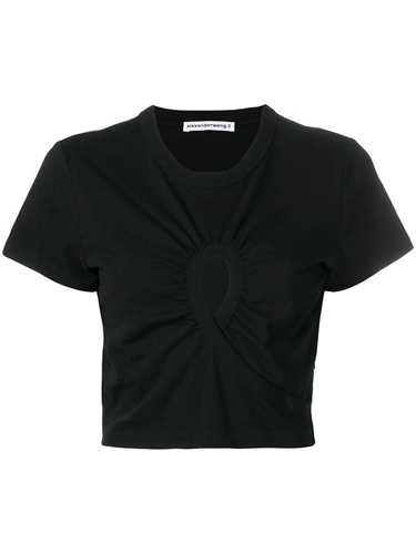 Picture of T By Alexander Wang | Cropped Keyhole T-Shirt