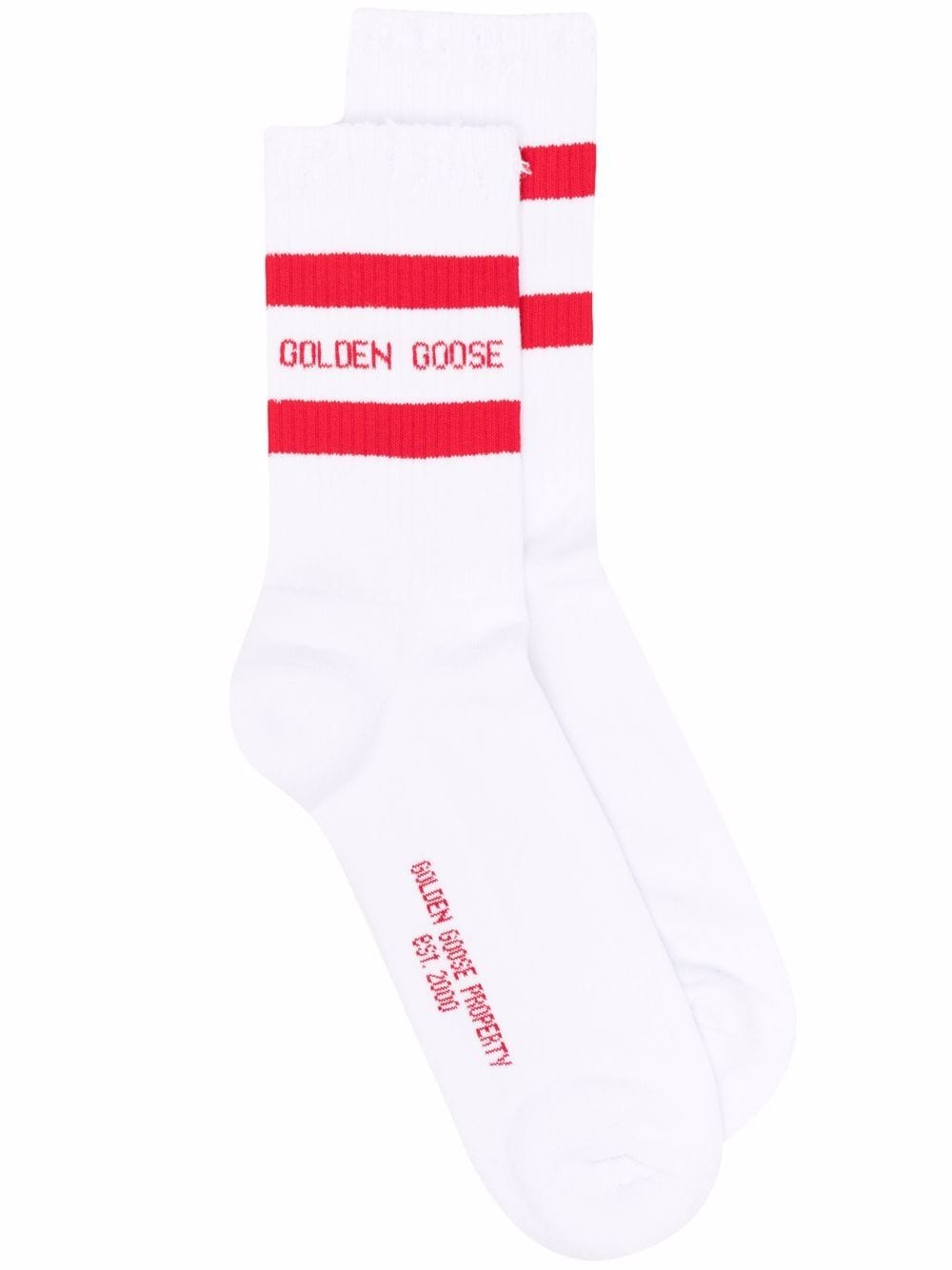 Picture of Golden Goose Deluxe Brand | Stripe Trim Ribbed Socks
