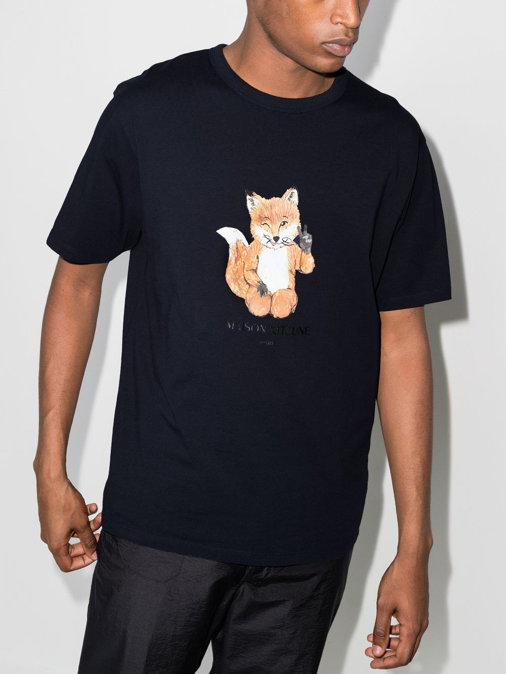 Picture of Maison Kitsune` | All Right Fox Print T-Shirt