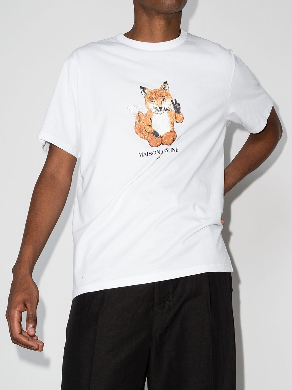 Picture of Maison Kitsune`   All Right Fox Print T-Shirt