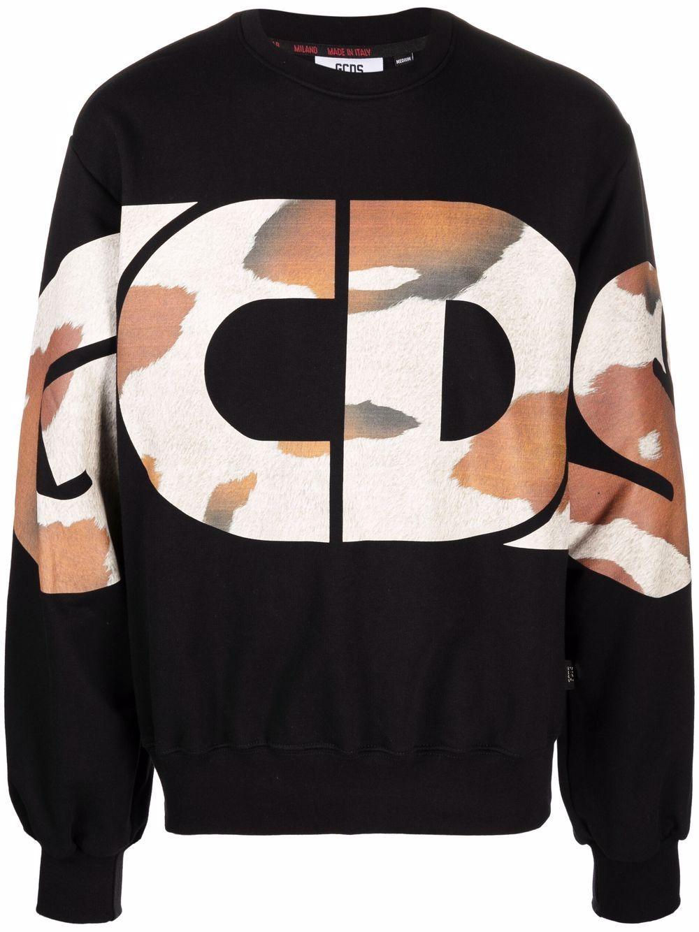 Picture of Gcds   Camouflage Logo Print Sweatshirt