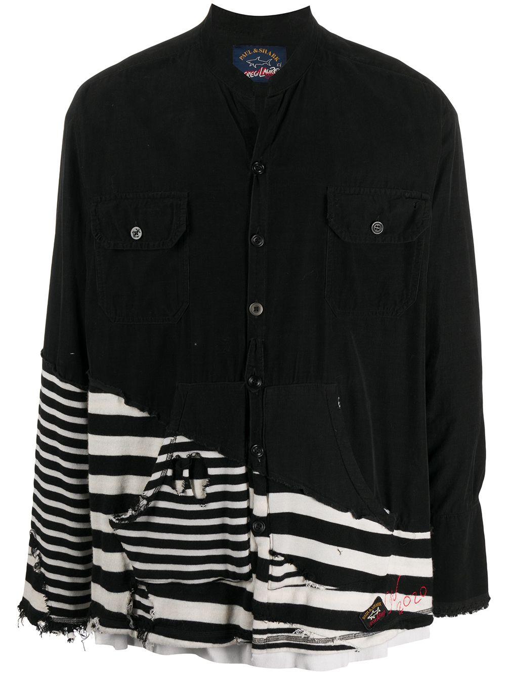 Picture of Paul & Shark X Greg Lauren | Contrast Panel Distressed Shirt