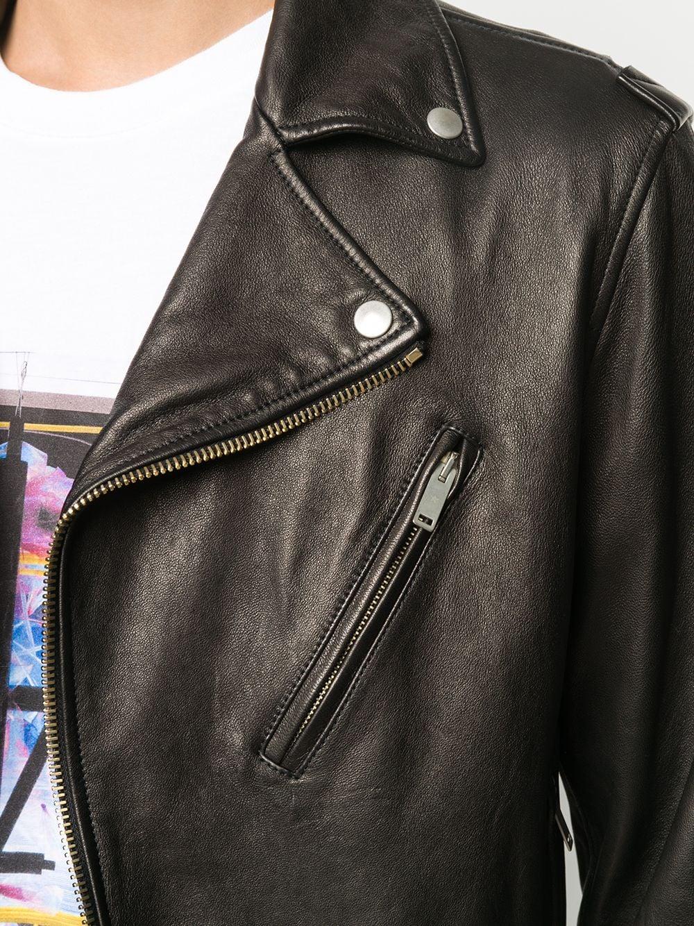 Picture of Golden Goose Deluxe Brand   Belted Waist Biker Jacket