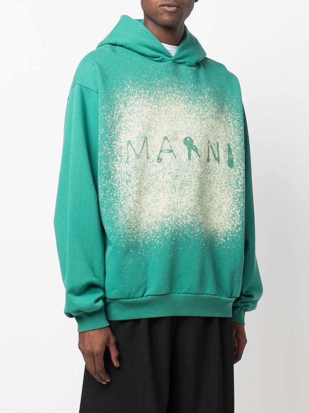 Picture of Marni   Paint Splatter Logo-Print Hoodie