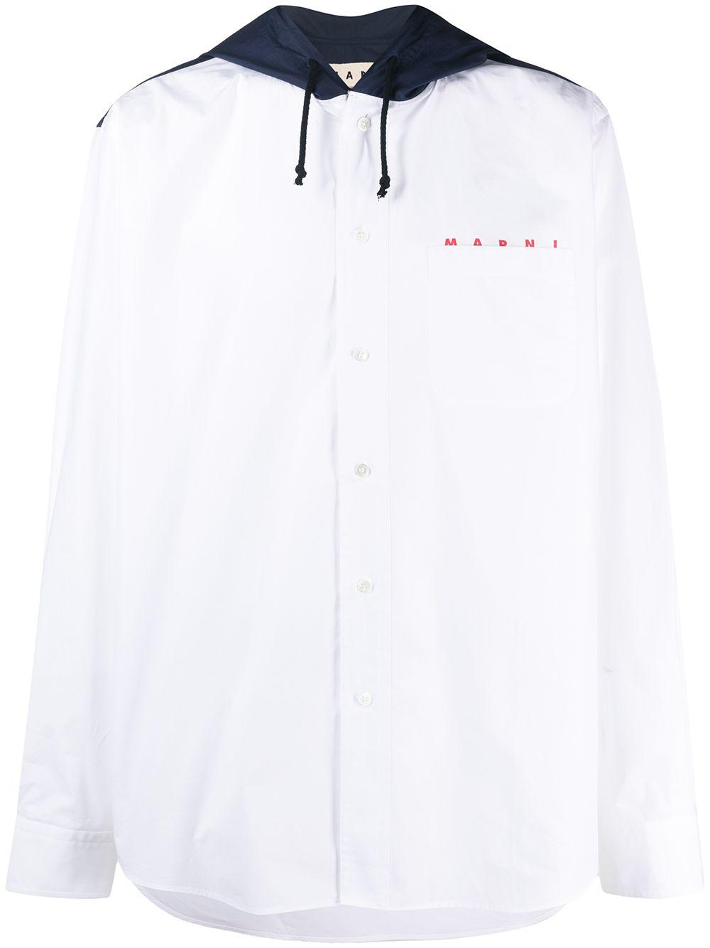 Picture of Marni | Drawstring-Hood Long-Sleeve Shirt