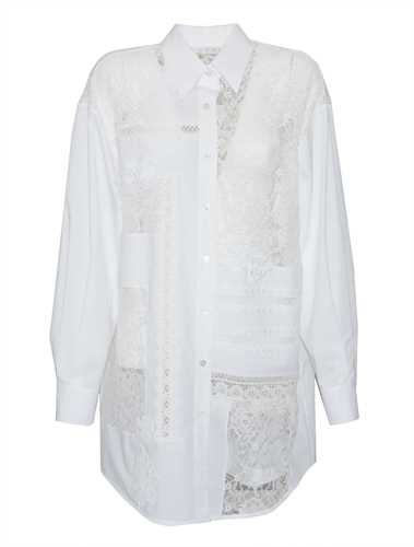 Picture of Golden Goose Deluxe Brand | Flora Lace-Insert Oversized Cotton Shirt