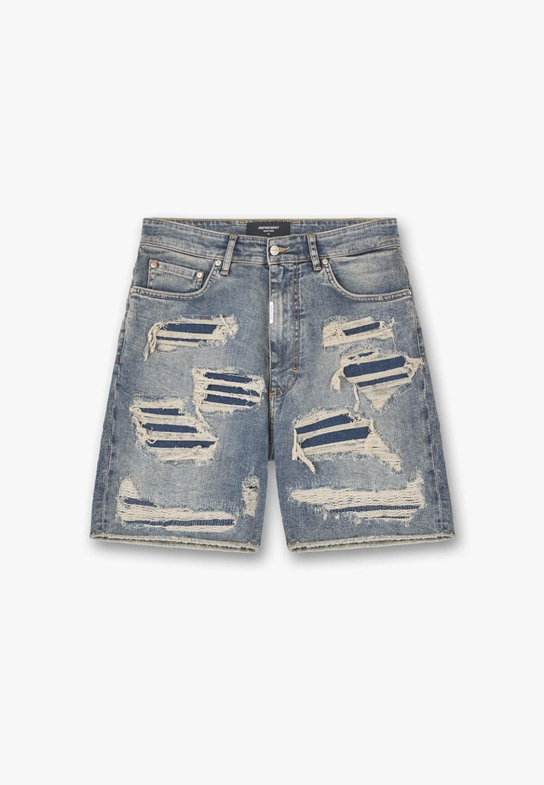 Picture of Represent   Shredded Denim Shorts